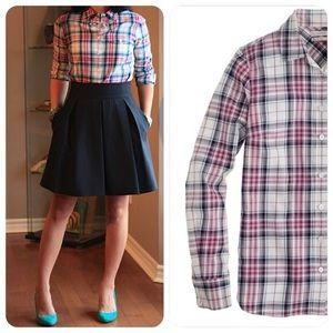 J. CREW Strawberry Mint Plaid Boy Shirt 🍓🍃